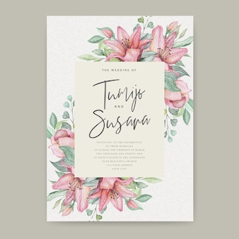Watercolor floral wedding card