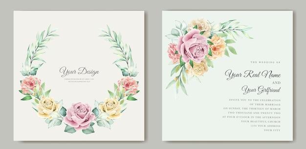 Partecipazione di nozze floreale dell'acquerello