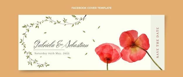 Copertina facebook per matrimonio floreale ad acquerello