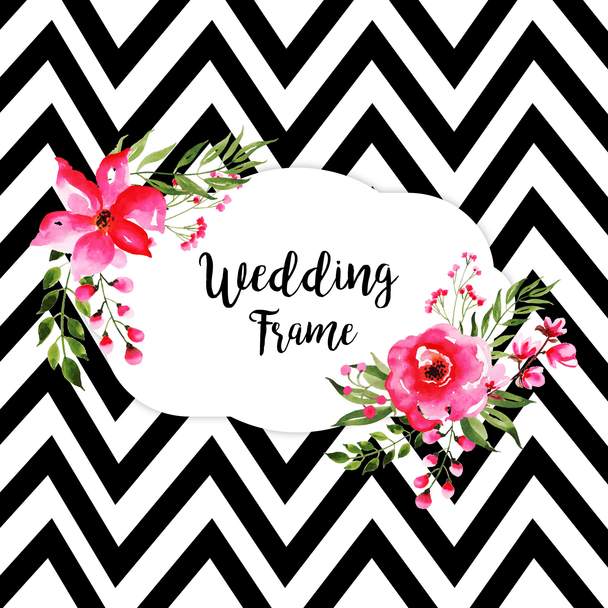 Watercolor Floral Wedding Frame Background With Stripes