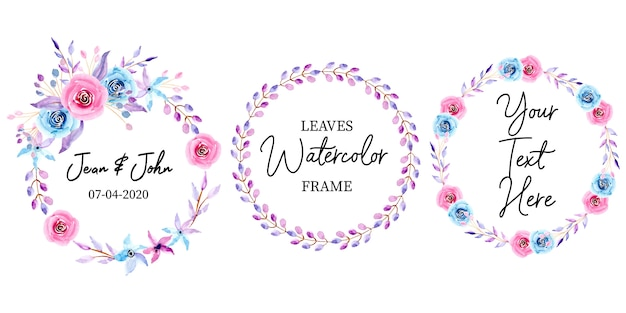 Watercolor floral wedding frame collection