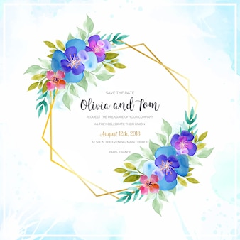 Watercolor floral wedding frame