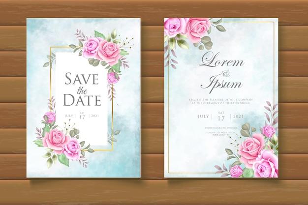 Акварель цветочные свадебные приглашения cad set шаблон