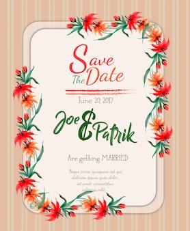 水彩画の花の結婚式招待状のカードの背景