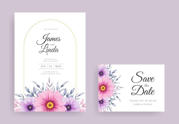 日付テンプレートを保存と水彩花の結婚式の招待カードのデザイン