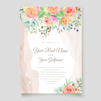 Watercolor floral wedding invitation card design