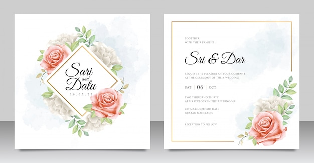 Watercolor floral wedding invitation card set template