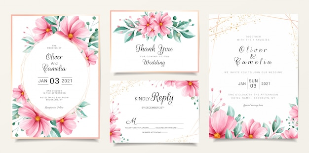 Watercolor floral wedding invitation card template set with flowers and gold line