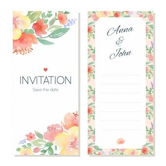 水彩フラワー結婚式招待状のテンプレート