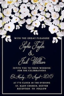 Шаблон акварель свадебные цветочные приглашения