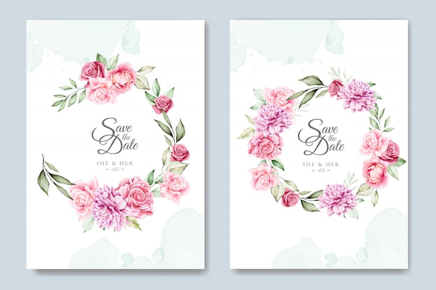 Watercolor floral wedding invitation card template