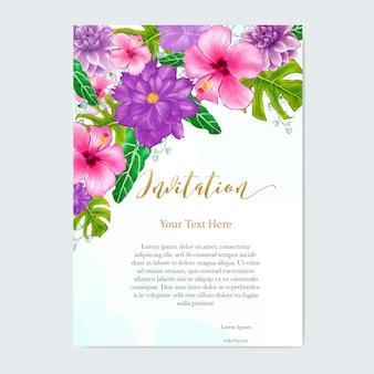 Акварель цветочные свадебные приглашения карты шаблон