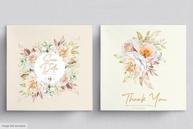 水彩花の結婚式の招待カードのテンプレート