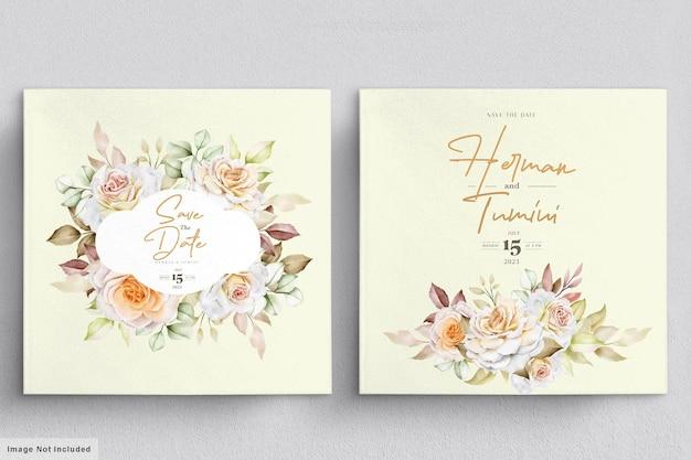 수채화 꽃 결혼식 초대 카드 템플릿
