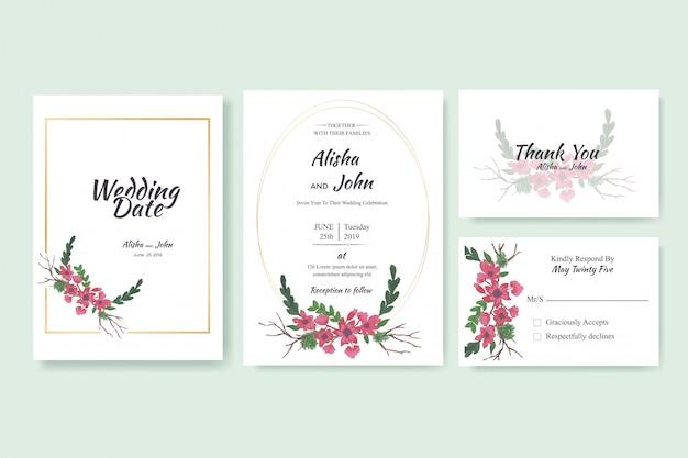 Watercolor floral wedding invitation card template