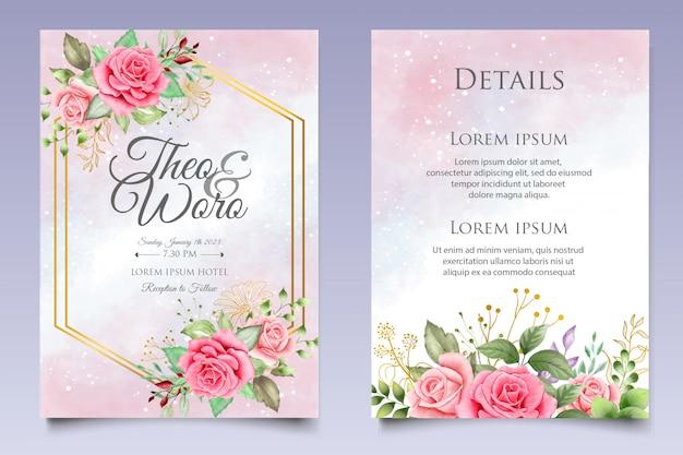 Шаблон приглашения акварель цветочные свадебные