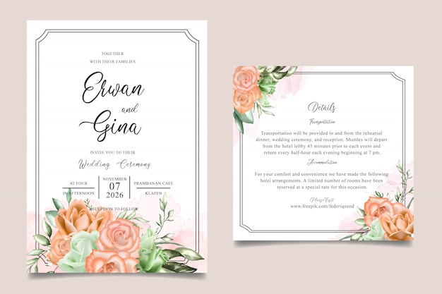 Watercolor floral wedding invitation card templates