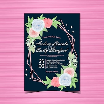 Watercolor floral wedding invitation card with beautiful blue and pink roses
