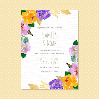 Watercolor floral wedding invitation card with wave line