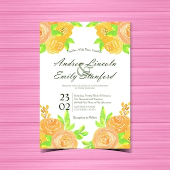 Watercolor floral wedding invitation card with yellow roses