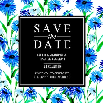 Акварельная цветочная свадебная пригласительная карточка
