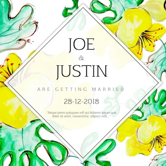 Watercolor Floral Wedding Invitation Card