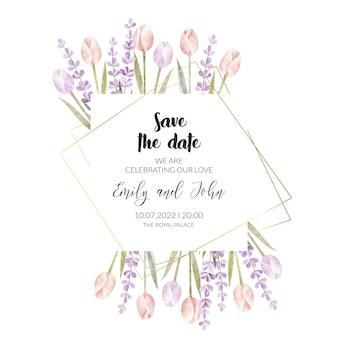 水彩花の結婚式の招待カード