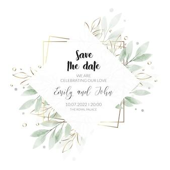 水彩花の結婚式の招待カード Premiumベクター