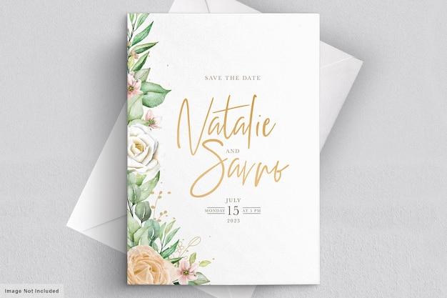 水彩花柄の結婚式の招待カード