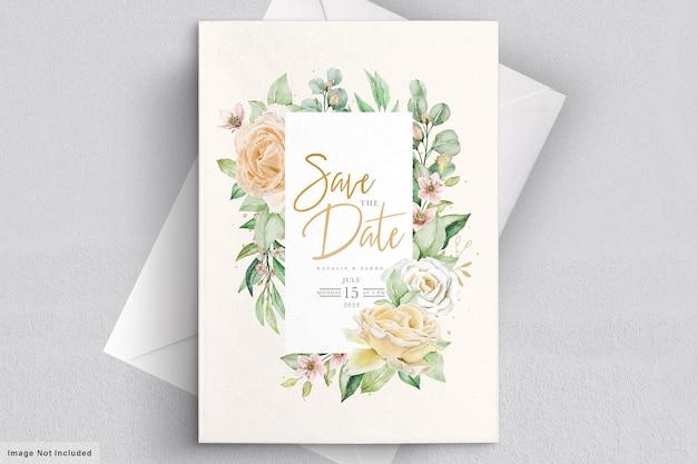 Watercolor floral wedding invitation card