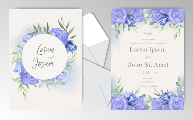 Watercolor floral wedding invitation cards with navy blue roses and leaves