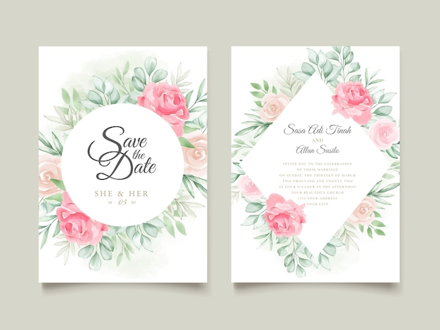 Акварельные цветочные свадебные приглашения