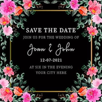 Watercolor floral wedding invitation frame