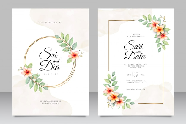 Watercolor floral wedding invitation set template with golden frame