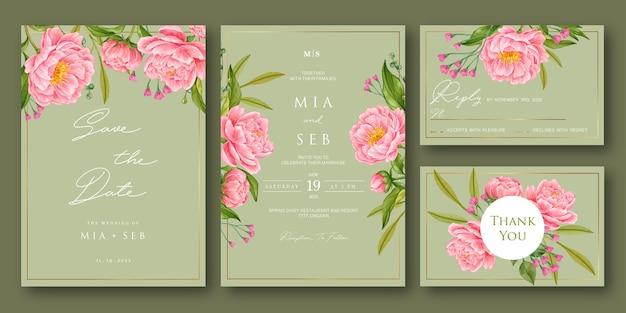 Набор акварельных цветочных свадебных приглашений