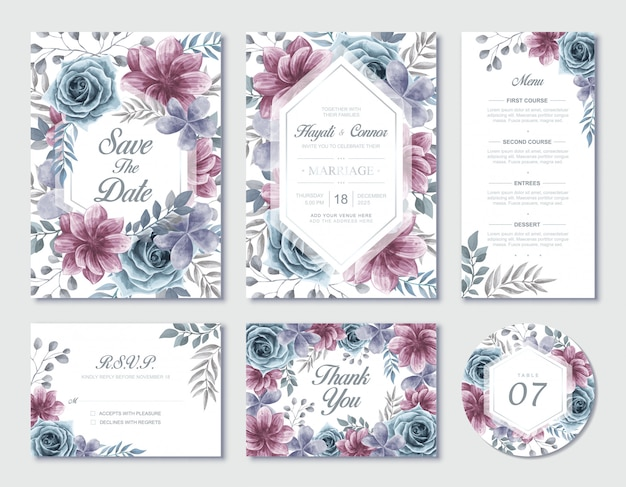 Watercolor floral wedding invitation stationery set with rsvp and thank you card