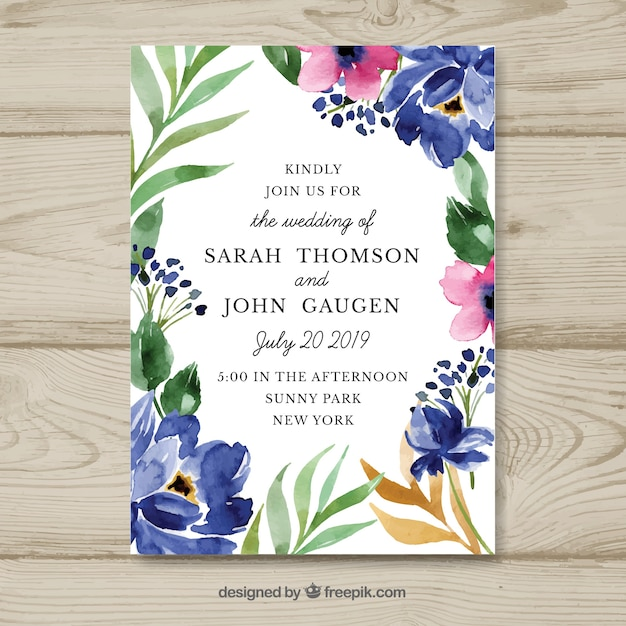Free Watercolor Floral Wedding Invitation Tamplate Svg Dxf