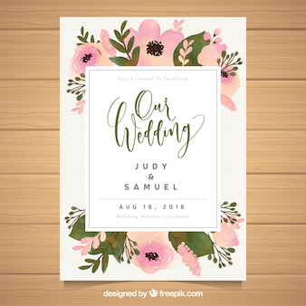 Watercolor floral wedding invitation tamplate
