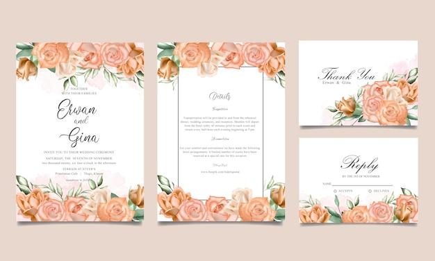Watercolor floral wedding invitation template card design