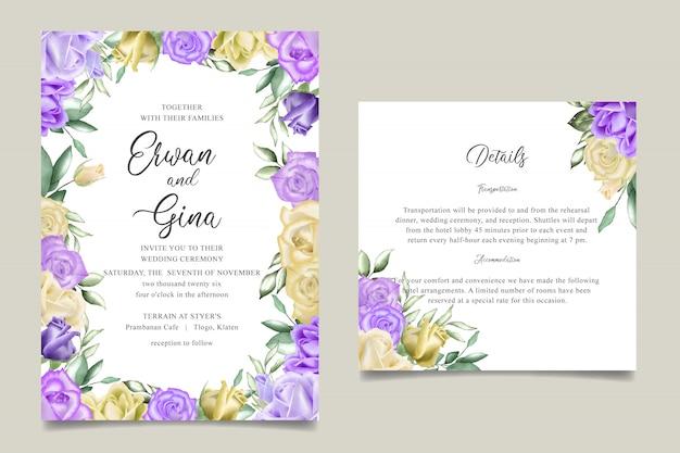 Watercolor floral wedding invitation template card