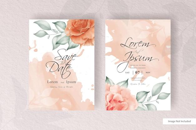 Шаблон свадебного приглашения акварель цветочные в стиле минимализма