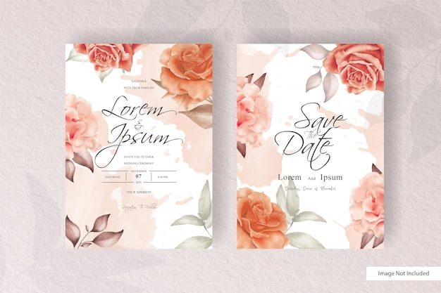 Watercolor floral wedding invitation template in minimalist design style