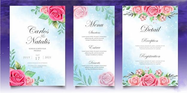 美しい花と水彩花の結婚式の招待状のテンプレート
