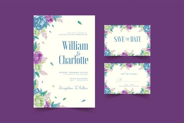 水彩花の結婚式の招待状のテンプレート
