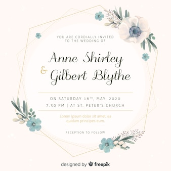 Watercolor floral wedding invitation template