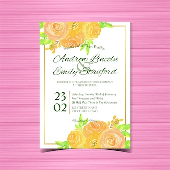 Watercolor floral wedding invitation with beautiful roses