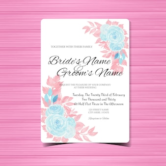 Watercolor floral wedding invitation with blue roses