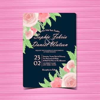 Watercolor floral wedding invitation with gorgeous pink roses
