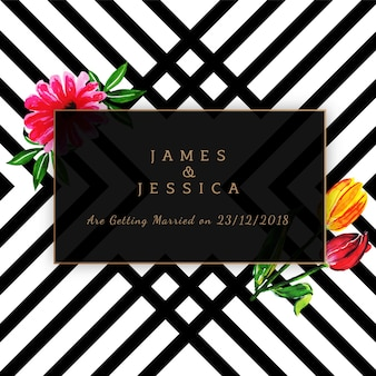 Watercolor floral wedding invitation with stripes pattern