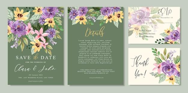 黄色と紫の花と水彩花の結婚式の招待状
